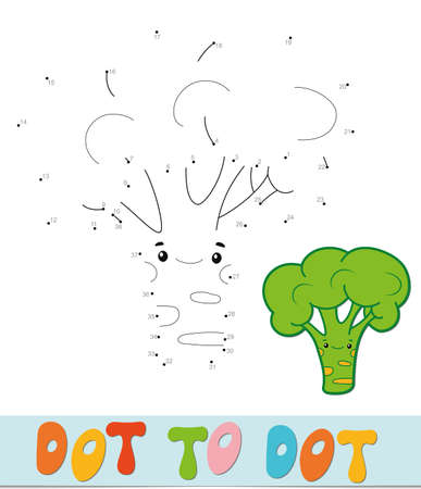 Dot to dot puzzle. Connect dots game. broccoli vector illustration  イラスト・ベクター素材