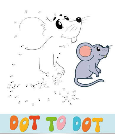 Dot to dot puzzle. Connect dots game. mouse vector illustration