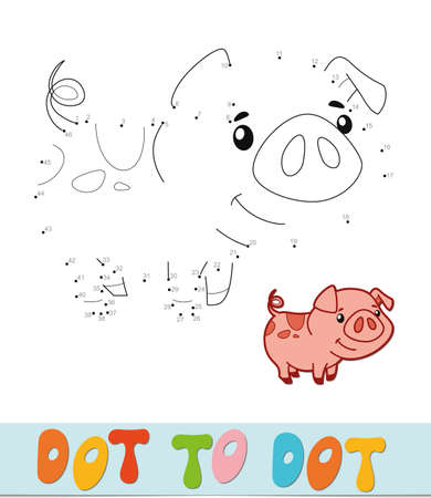 Dot to dot puzzle. Connect dots game. pig vector illustration