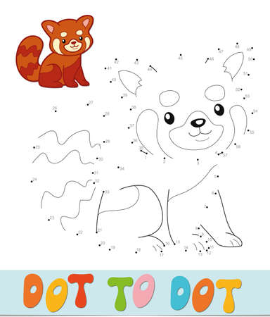 Dot to dot puzzle. Connect dots game. Red panda vector illustration  イラスト・ベクター素材