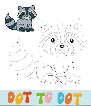 Dot to dot puzzle. Connect dots game. badger vector illustration