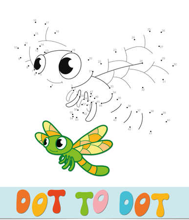 Dot to dot puzzle. Connect dots game. dragonfly vector illustration