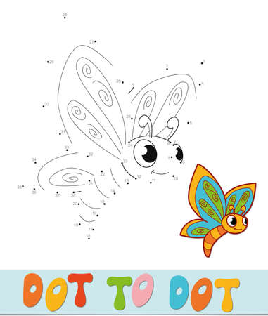Dot to dot puzzle. Connect dots game. butterfly vector illustration