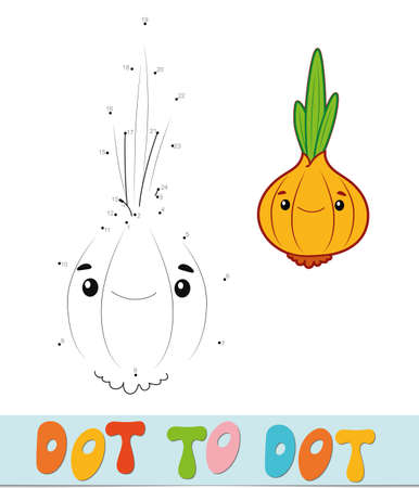 Dot to dot puzzle. Connect dots game. onion vector illustration  イラスト・ベクター素材