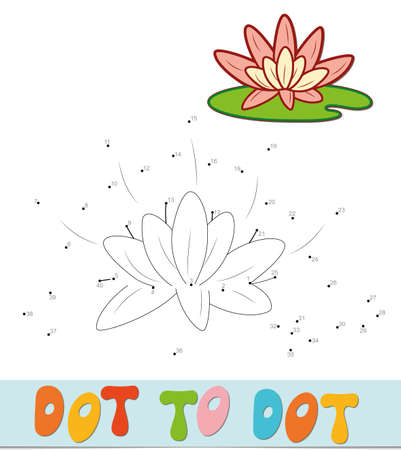 Dot to dot puzzle. Connect dots game. lotus vector illustration
