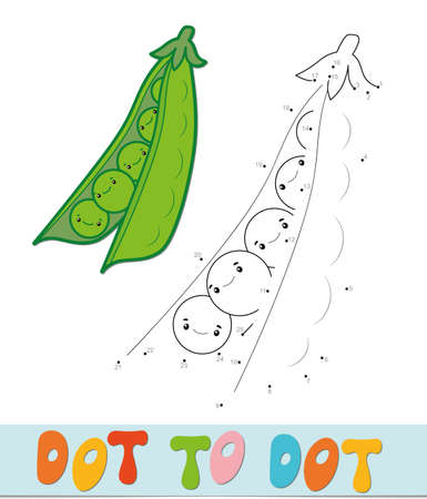 Dot to dot puzzle. Connect dots game. peas vector illustration