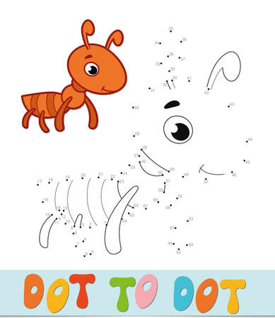 Dot to dot puzzle. Connect dots game. ant vector illustration