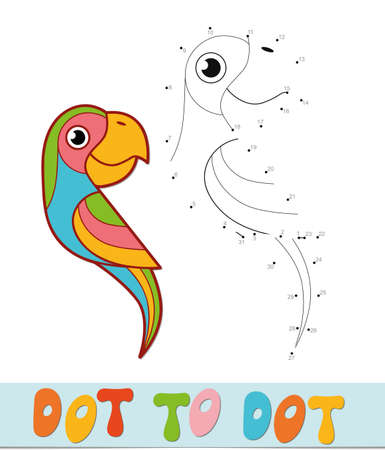 Dot to dot puzzle. Connect dots game. parrot vector illustration