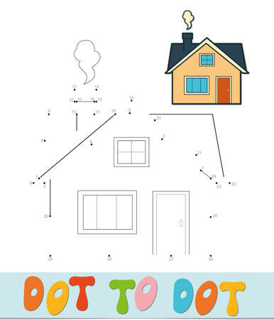 Dot to dot puzzle. Connect dots game. house vector illustration