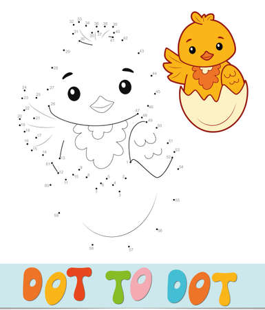 Dot to dot puzzle. Connect dots game. chick vector illustration