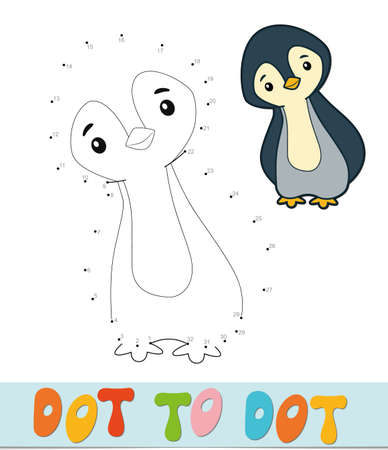 Dot to dot puzzle. Connect dots game. penguin vector illustration