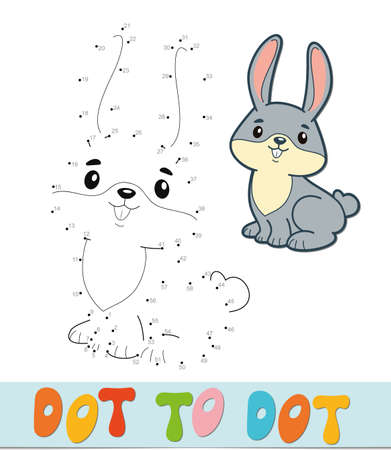Dot to dot puzzle. Connect dots game. rabbit vector illustration  イラスト・ベクター素材