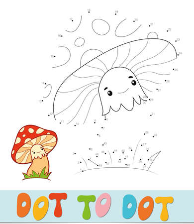 Dot to dot puzzle. Connect dots game. mushroom vector illustration  イラスト・ベクター素材