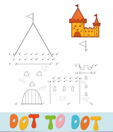 Dot to dot puzzle. Connect dots game. castle vector illustration