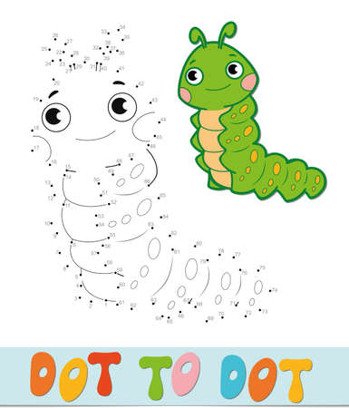 Dot to dot puzzle. Connect dots game. caterpillar vector illustration