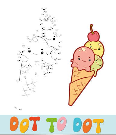 Dot to dot puzzle. Connect dots game. ice cream vector illustration