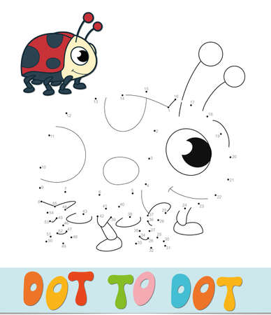 Dot to dot puzzle. Connect dots game. ladybug vector illustration  イラスト・ベクター素材