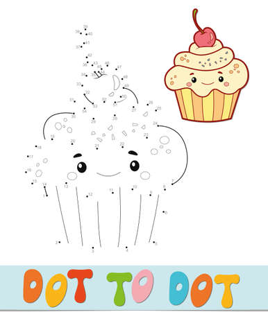Dot to dot puzzle. Connect dots game. cake vector illustration  イラスト・ベクター素材