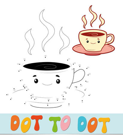 Dot to dot puzzle. Connect dots game. cup vector illustration