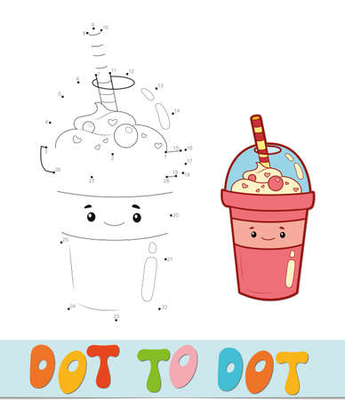 Dot to dot puzzle. Connect dots game. drink vector illustration