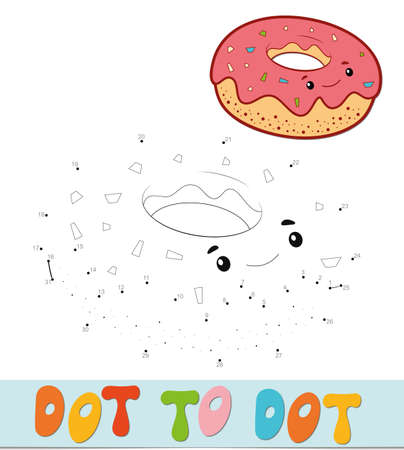 Dot to dot puzzle. Connect dots game. donut vector illustration  イラスト・ベクター素材