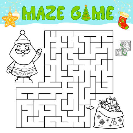 Christmas Maze puzzle game for children. Outline maze or labyrinth game with Santa claus.