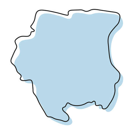 Stylized simple outline map of Suriname icon. Blue sketch map of Suriname vector illustration