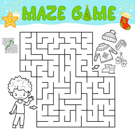 Christmas Maze puzzle game for children. Outline maze or labyrinth game with christmas boy. Иллюстрация
