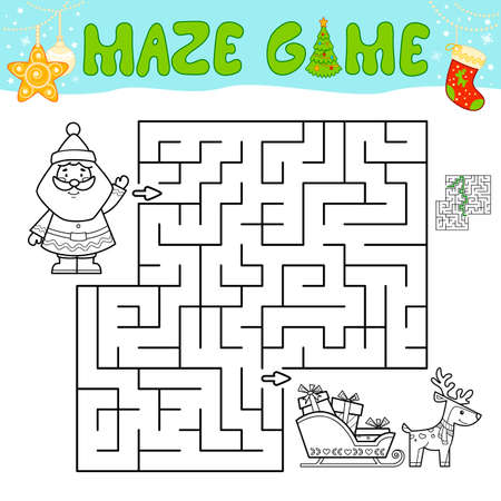Christmas Maze puzzle game for children. Outline maze or labyrinth game with christmas Santa claus.