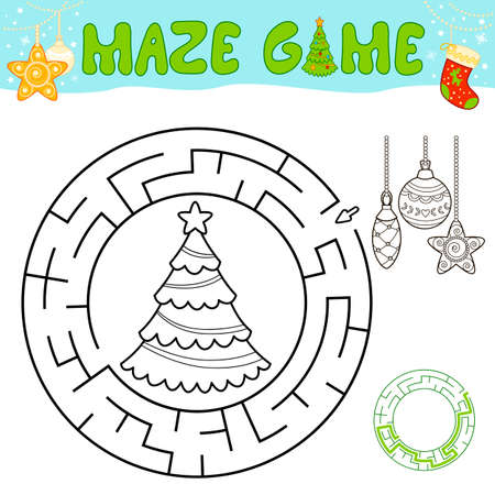 Christmas black and white maze puzzle game for children. Outline circle maze or labyrinth game with Christmas tree and decorations. Иллюстрация