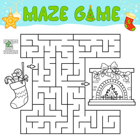 Christmas Maze puzzle game for children. Outline maze or labyrinth game with christmas Sock and fireplace.