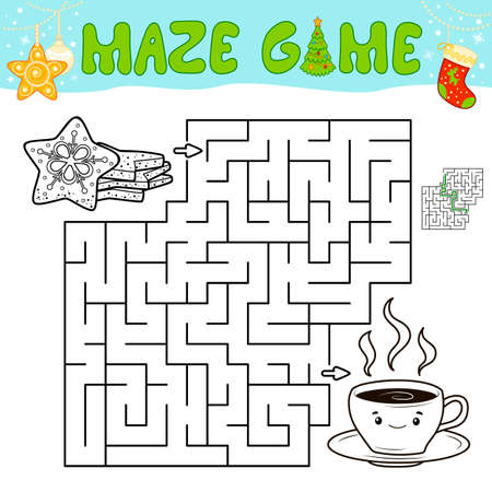 Christmas Maze puzzle game for children. Outline maze or labyrinth game with christmas cookie.