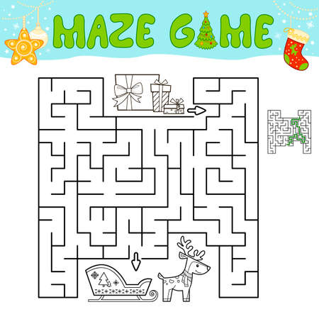 Christmas Maze puzzle game for children. Outline maze or labyrinth game with christmas sleigh.