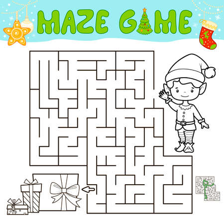 Christmas Maze puzzle game for children. Outline maze or labyrinth game with christmas boy elf.