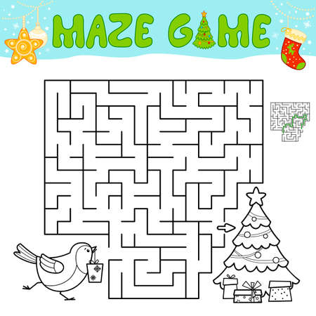 Christmas Maze puzzle game for children. Outline maze or labyrinth game with christmas Bird.