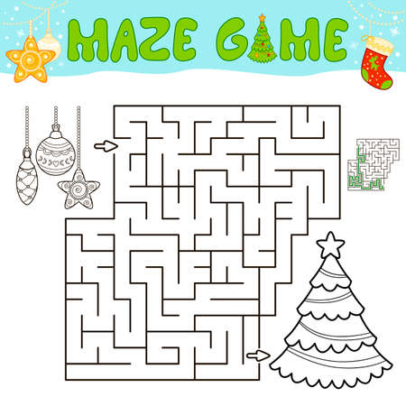 Christmas Maze puzzle game for children. Outline maze or labyrinth game with christmas tree and decorations.