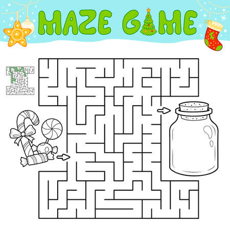 Christmas Maze puzzle game for children. Outline maze or labyrinth game with christmas Candy.