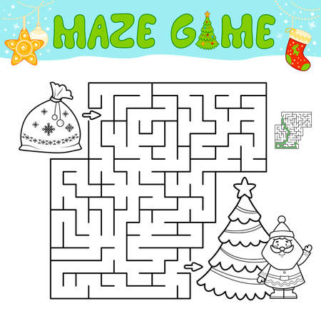 Christmas Maze puzzle game for children. Outline maze or labyrinth game with christmas bag.