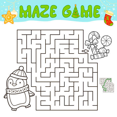 Christmas Maze puzzle game for children. Outline maze or labyrinth game with christmas penguin. Иллюстрация