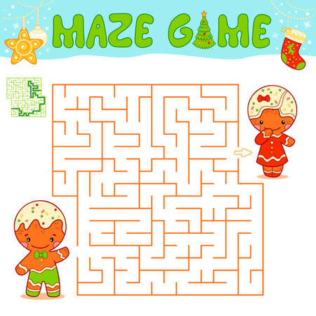 Christmas Maze puzzle game for children. Maze or labyrinth game with Christmas Gingerbread man.