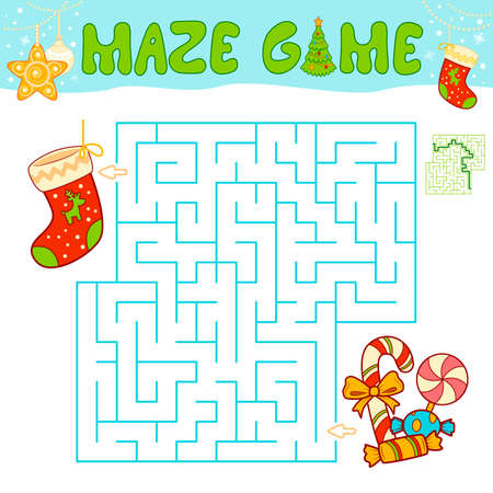 Christmas Maze puzzle game for children. Maze or labyrinth game with Christmas Sock.
