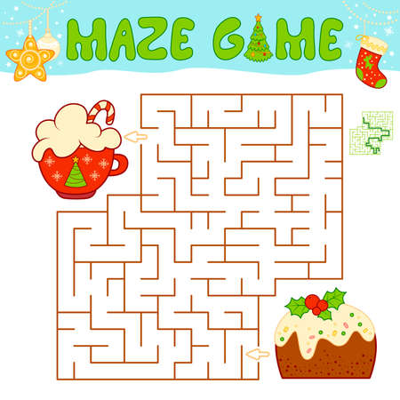 Christmas Maze puzzle game for children. Maze or labyrinth game with Christmas cake. Иллюстрация