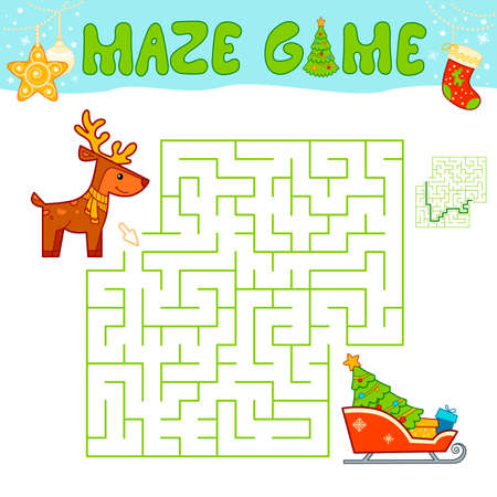 Christmas Maze puzzle game for children. Maze or labyrinth game with Christmas sleigh and reindeer. Иллюстрация
