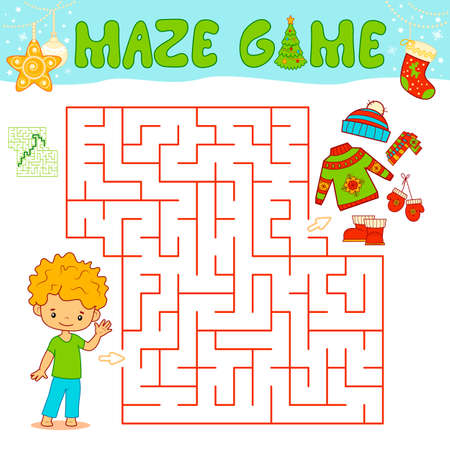 Christmas Maze puzzle game for children. Maze or labyrinth game with Christmas boy. Иллюстрация