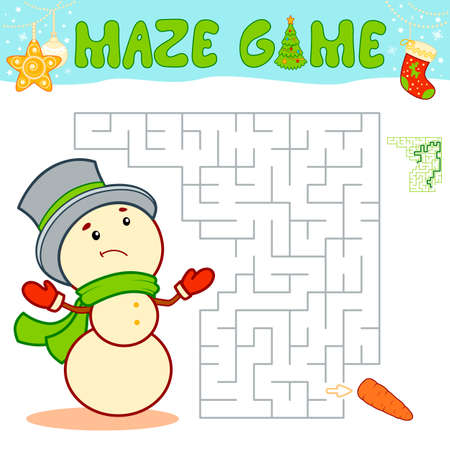 Christmas Maze puzzle game for children. Maze or labyrinth game with Christmas Snowman.