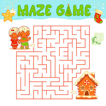 Christmas Maze puzzle game for children. Maze or labyrinth game with Christmas Gingerbread man and Gingerbread house.