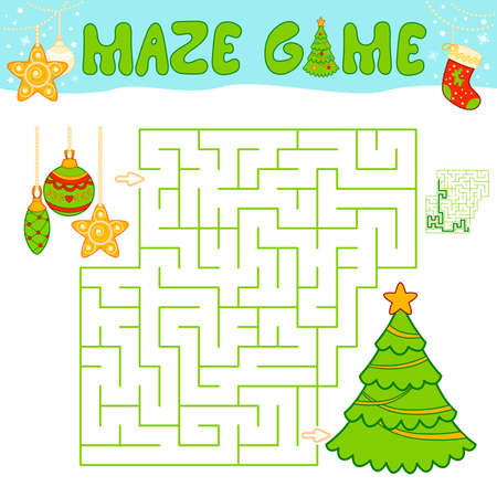 Christmas Maze puzzle game for children. Maze or labyrinth game with Christmas tree and decorations. Иллюстрация