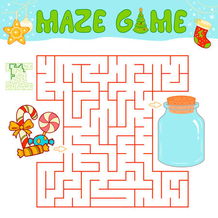 Christmas Maze puzzle game for children. Maze or labyrinth game with Christmas Candy.