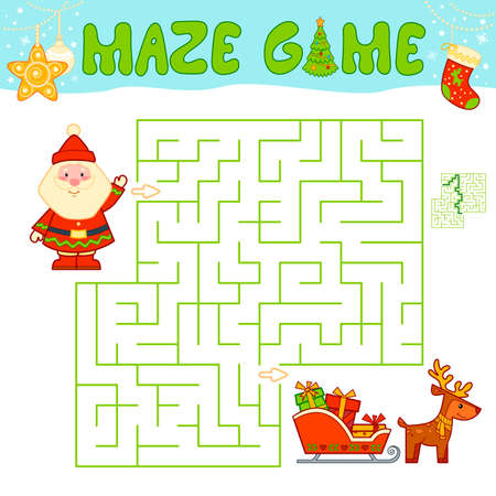 Christmas Maze puzzle game for children. Maze or labyrinth game with Christmas Santa claus.