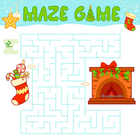 Christmas Maze puzzle game for children. Maze or labyrinth game with Christmas Sock and fireplace.